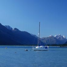 Sailboat in Lake Wakatipu at Glenorchy