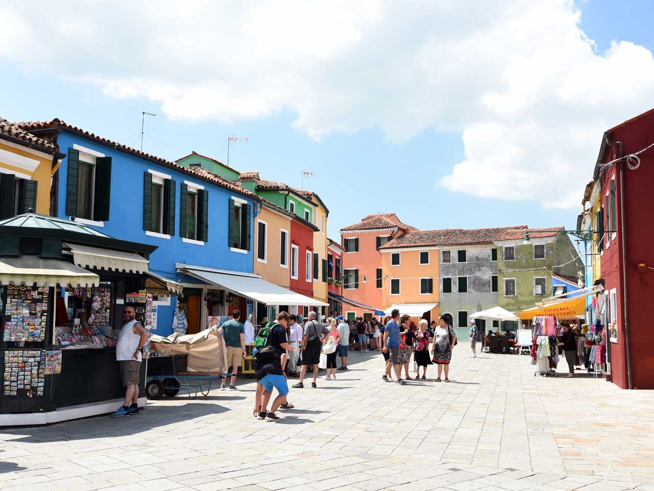 Stands selling their wares to tourists in Burano