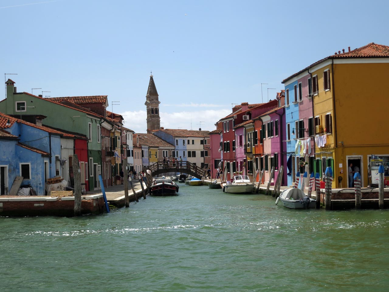 View from Vaporetto (water taxi) as entering Burano