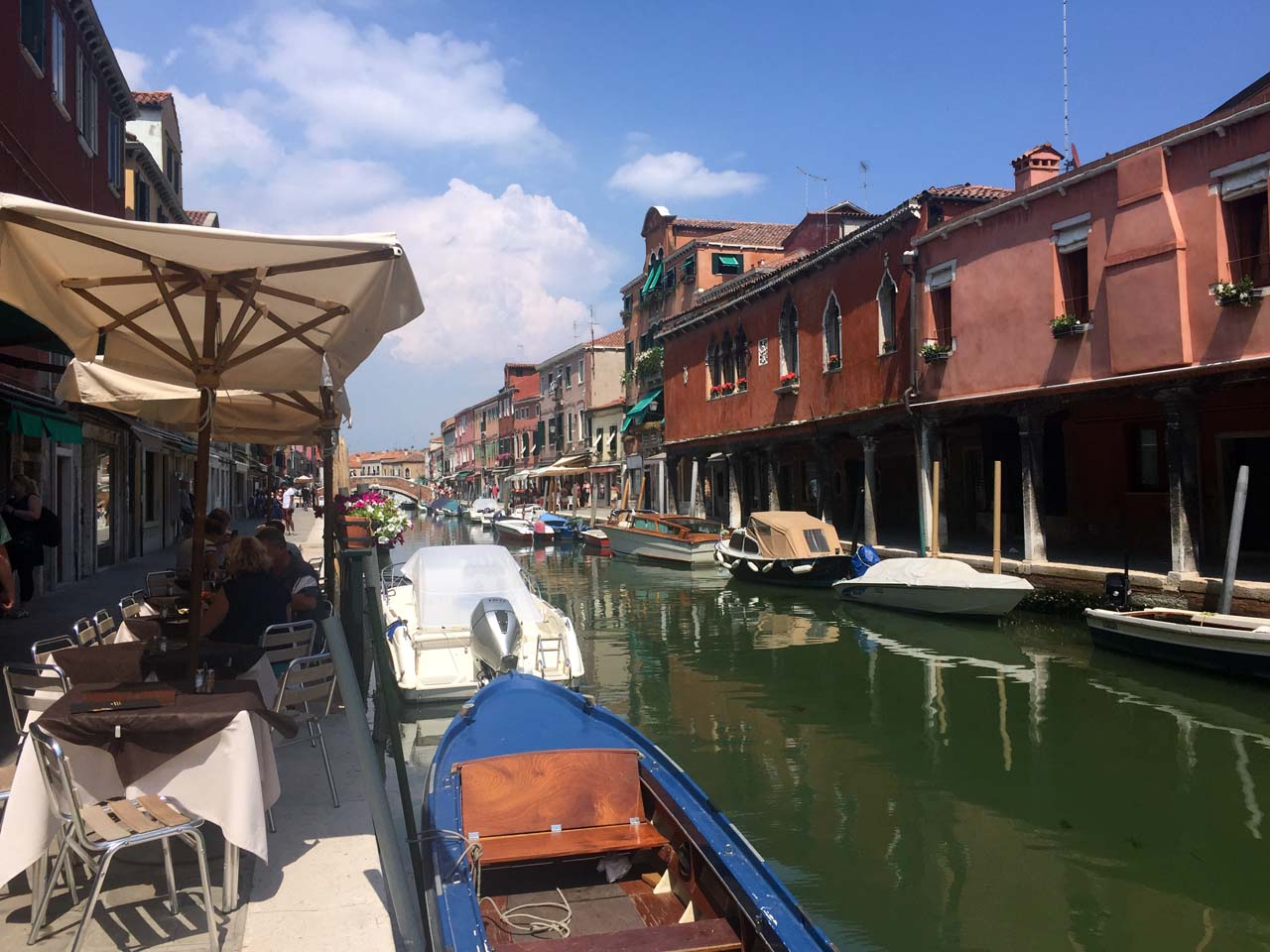 Cafe-lined canals of Murano