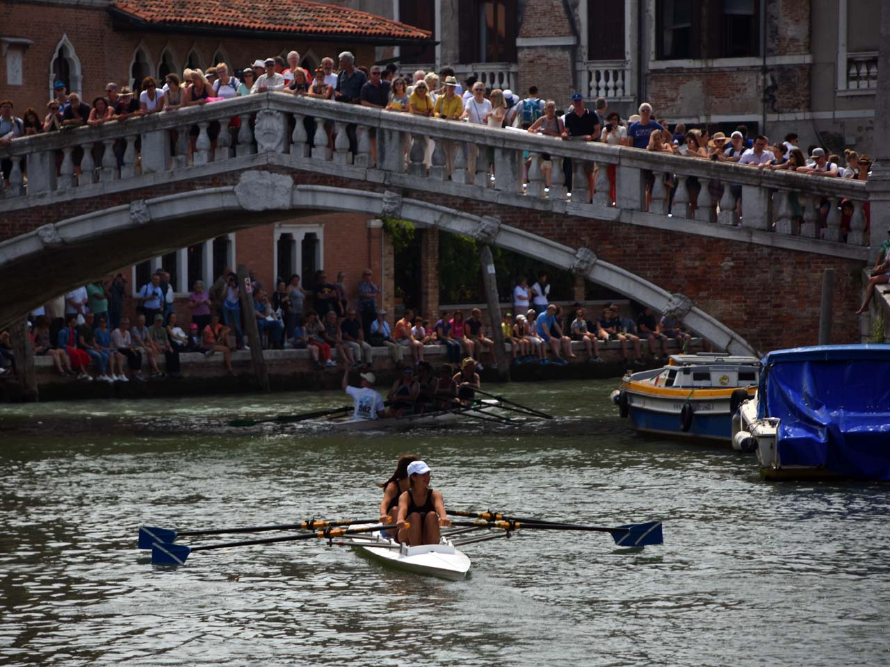 Locals and tourists alike lined the canals and bridges in support of the rowers