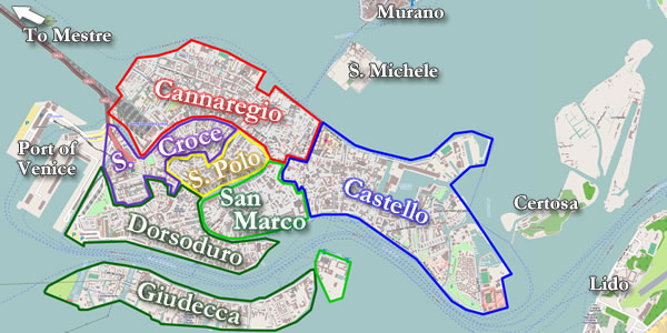 Map of sestiere of Venice